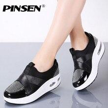 Женские кроссовки на платформе PINSEN, Осенние Повседневные слипоны высокого качества, удобные дамские туфли