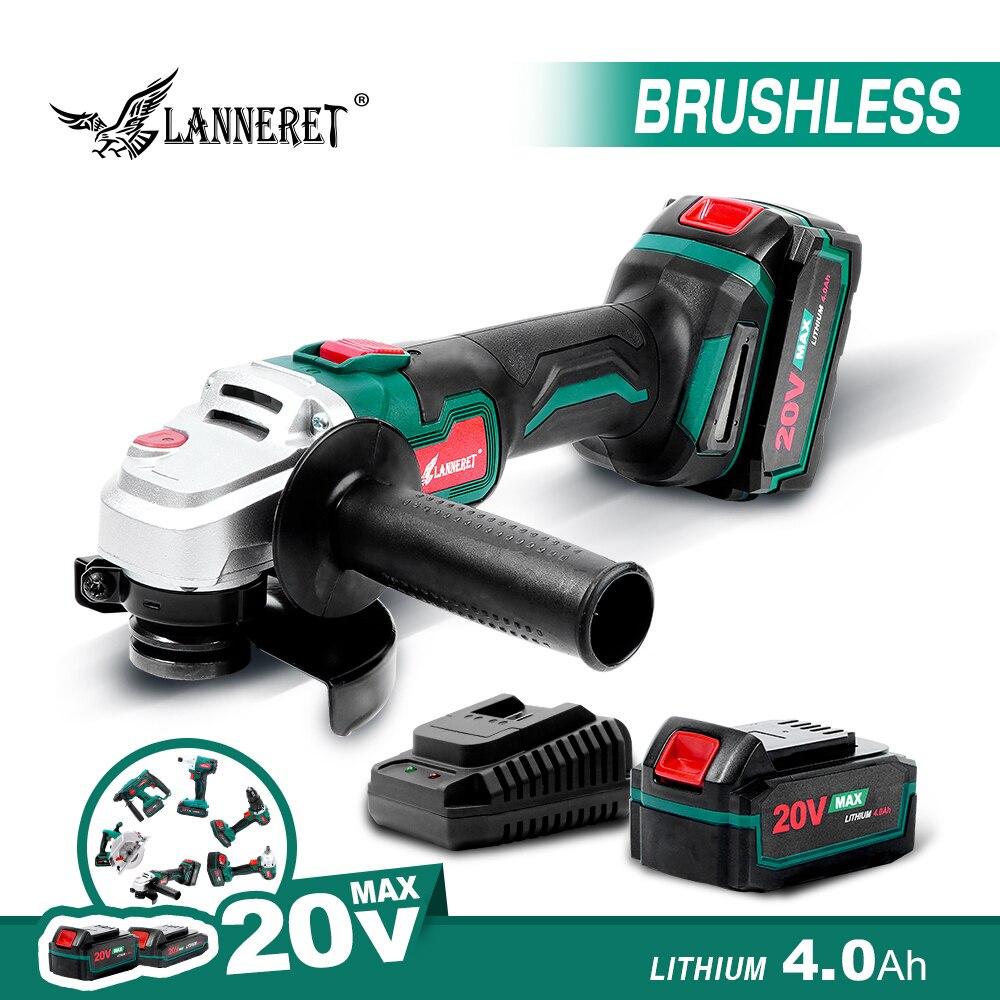 LANNERET Electric Brushless Angle Grinder 20V Battery Grinder 4.0Ah Cordless Angle Grinder