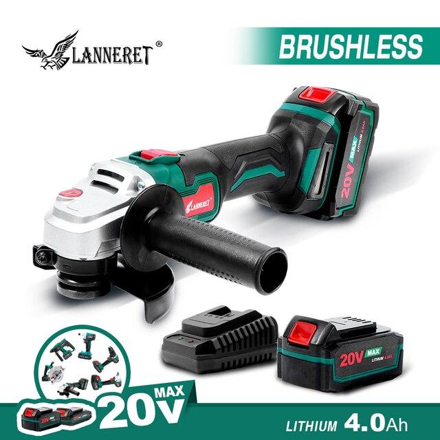 $ US $50.13 LANNERET Electric Brushless Angle Grinder 20V Battery Grinder 4.0Ah Cordless Angle Grinder