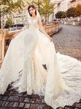 Великолепное Кружевное Свадебное платье русалки с аппликацией