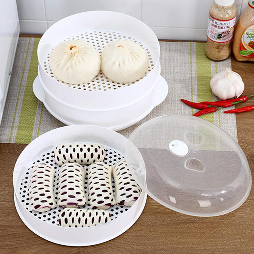 Round Single/Double Tier Microwave Food Steamer Kitchen Veggies Fish Cookware