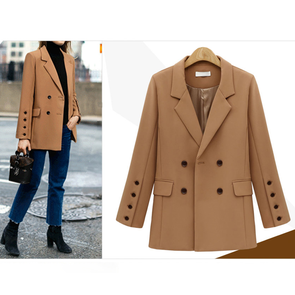 2019 Fashion Autumn Women Blazers And jackets Work Office Lady Suit Loose Long Sleeve Button Business Female Casual Blazer Coat