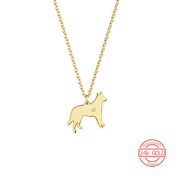 Stainless Steel Wolfhound Pendant Necklace Women Men Love Heart Hollow Police Dog Jewelry Ketting Wild Wolf Kolye Gift Soldier image