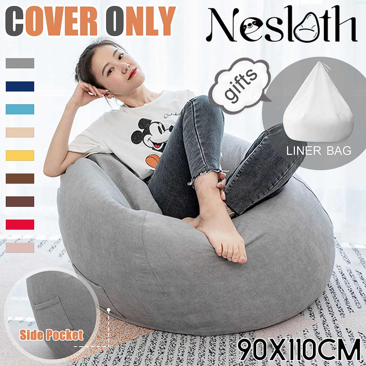 2Pcs/Set Lazy BeanBag Sofas Cover+Inner Liner NO Filler Velvet Fabric Lounger Seat Bean Bag Pouf Puff Couch Tatami Living Room