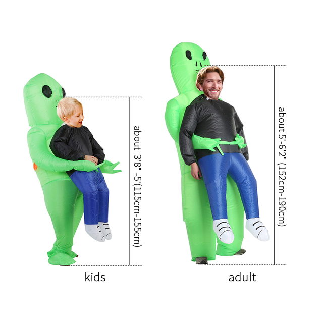 Halloween Costume For Women Men Inflatable Green Alien Cosplay children & Adult Funny Blow Up Pak Party Fancy Dress Party mask 4