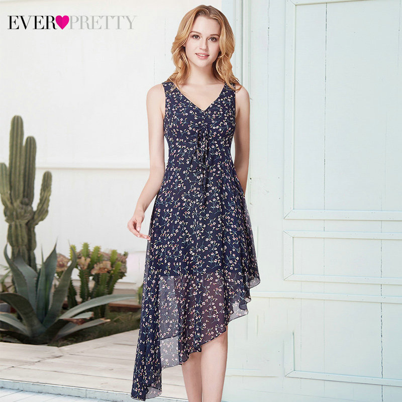 Elegant Floral Printed Homecoming Dresses Ever Pretty AS05957NB Asymmetrical Sleeveless V-Neck Chiffon Party Gowns Vestidos 2020