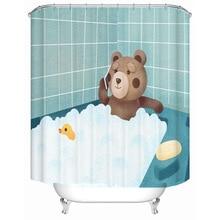 Cartoon bathing bear bear polyester printing waterproof bathroom shower curtain bathroom partition curtain with hook