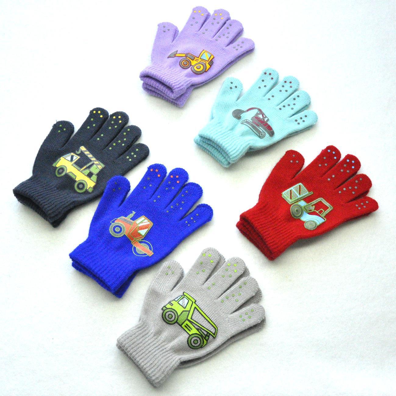 1Pair PVC Anti-slip Knit Gloves Children Outdoor Camouflage Robot Excavator Dinosaur Print Winter Warm Mittens Sport Gloves Kid