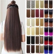 24 inchs longo grampo de cabelo sintético na extensão do cabelo resistente ao calor hairpiece ondulado natural cabelo peça mumupi