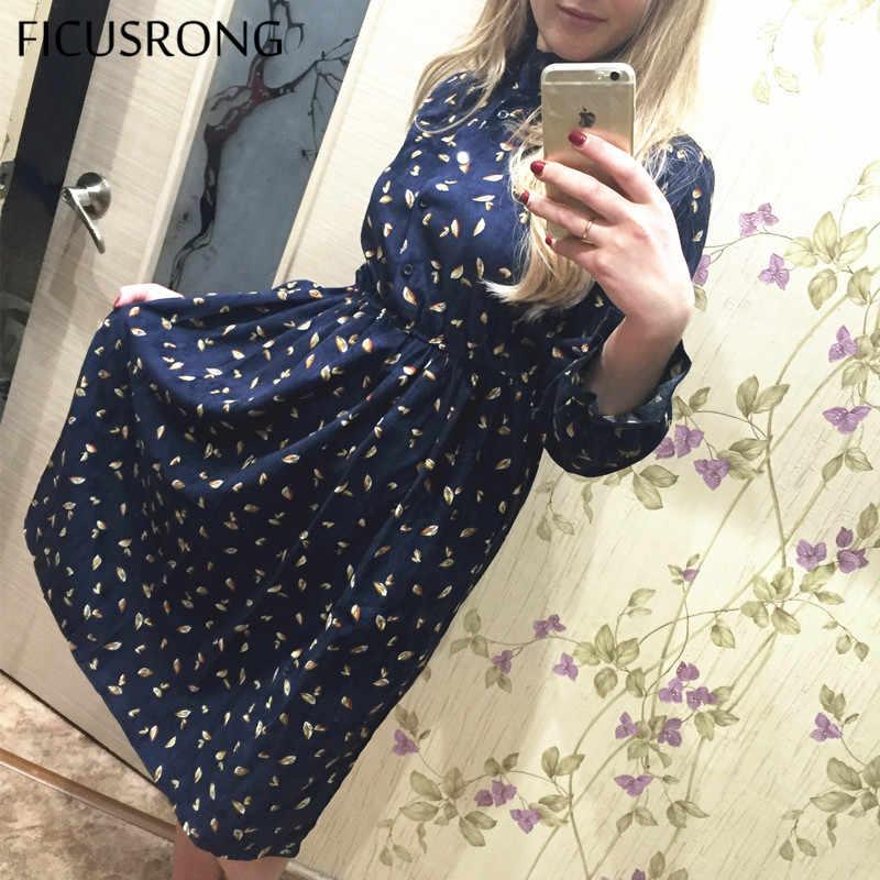 FICUSRONG printemps automne velours côtelé robe à volants florale col Vintage robe à manches longues femmes haute taille élastique imprimer robes