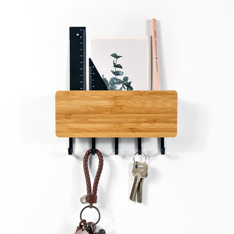 Wall Hook Storage Rack Vintage Key Hook Bamboo Hanger Hallway Home Decorative Shelf For Bedroom Door Back Home Space Saving