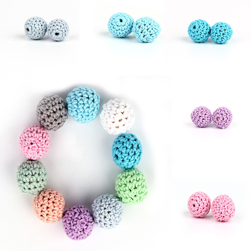 TYRY.HU 10Pcs Natural Wooden Crochet Beads Chewable Tooth Nursing Necklace Teething Beads Baby Teether Toys Baby Shower Gifts