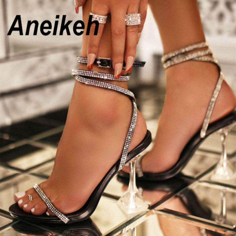 Aneikeh Glitter Rhinestone Pumps Rome Sandals Women Shoes Peep Toe Perspex Heel Stilettos High Heels Sandals Summer Party Shoes