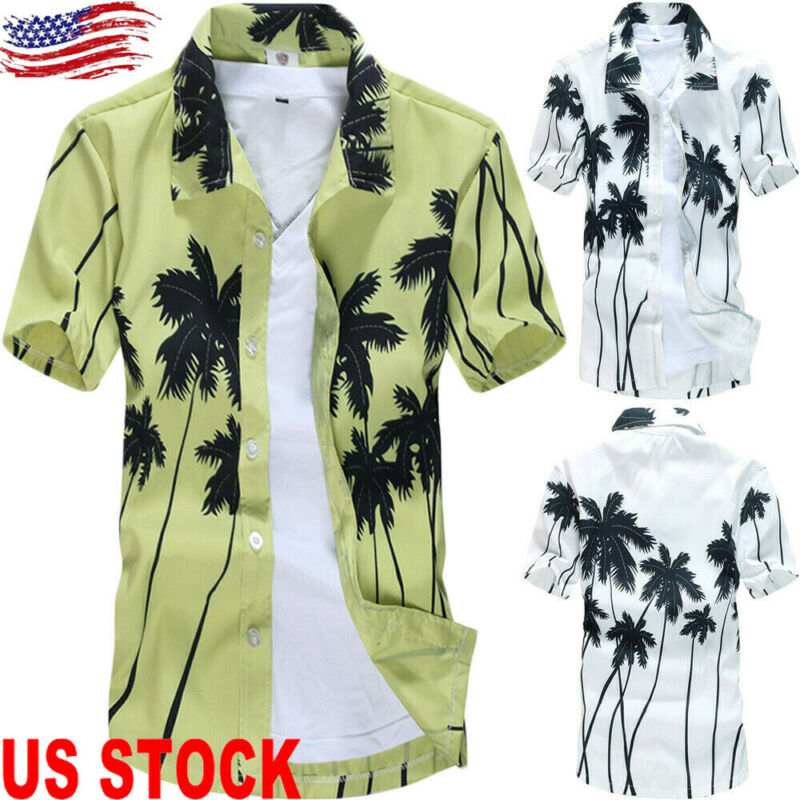 New Hawaii Style Mens Beach Hawaiian Shirts Quick Dry Palm Tree Short Sleeve Floral Shirt Casual Tops For Male image