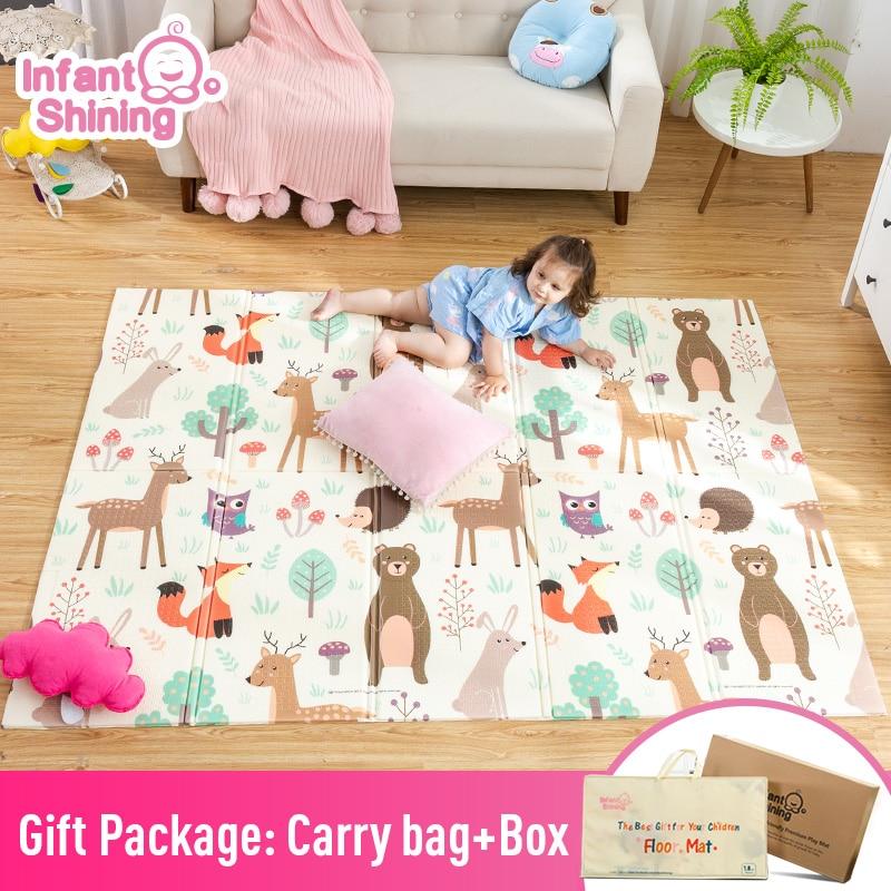 Infantil brilhante bebê jogar esteira xpe quebra-cabeça das crianças tapete engrossado tapete infantil do quarto bebê rastejando almofada dobrável tapete do bebê