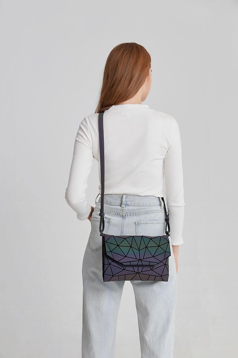 Black Luminescent Geometric Crossbody Ladies Shoulder Bag Envelope Purse - womens-handbags, google-feed-new