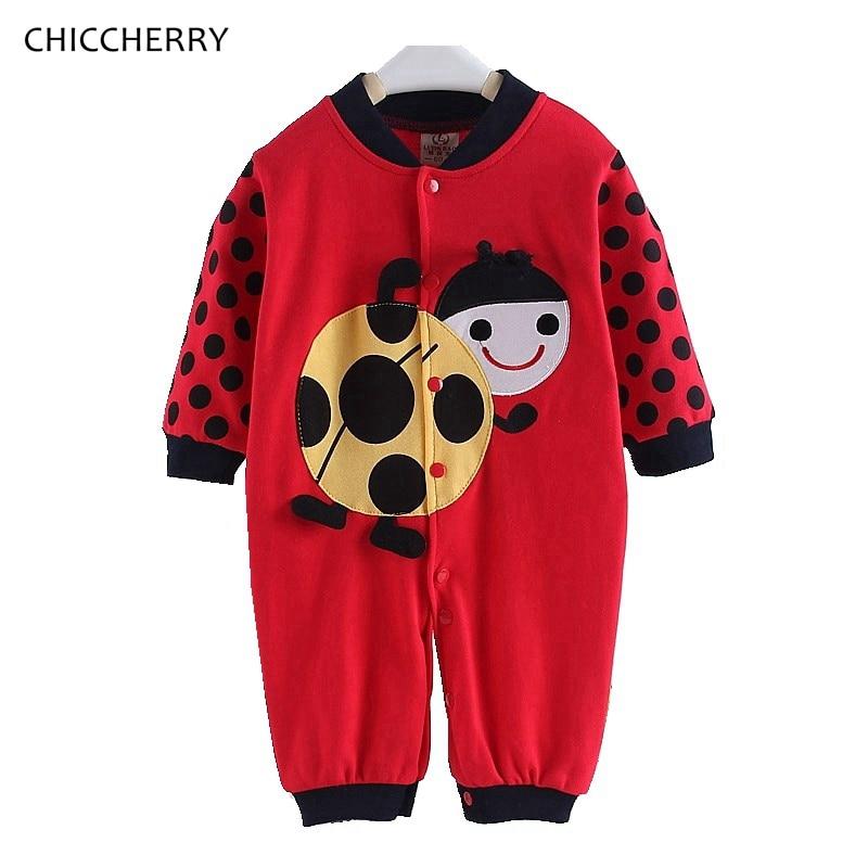 Ladybug Del Bambino Della Ragazza Del Pagliaccetto A Manica Lunga Primavera Autunno Scherza I Vestiti Dei Bambini Tute e Tute da Palestra Abbigliamento Bambino Mameluco Bebe Vestiti Bambina