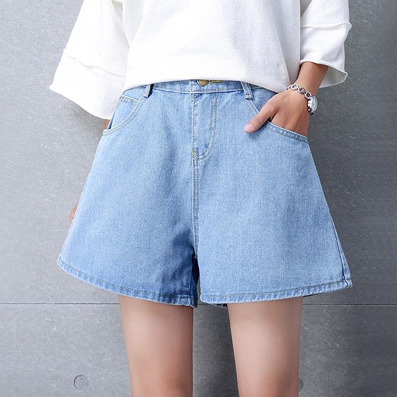 Women's Shorts Solid Color Denim Casual Plus Size Wide Leg Shorts High Waist Summer Loose Shorts Cowboy Dark Blue Shorts!