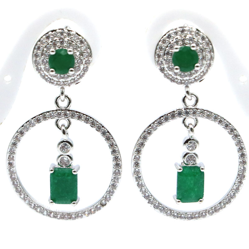 38x22mm 2019 New Arrival Real Green <font><b>Emerald</b></font> White CZ Gift For Sister Silver <font><b>Earrings</b></font> image