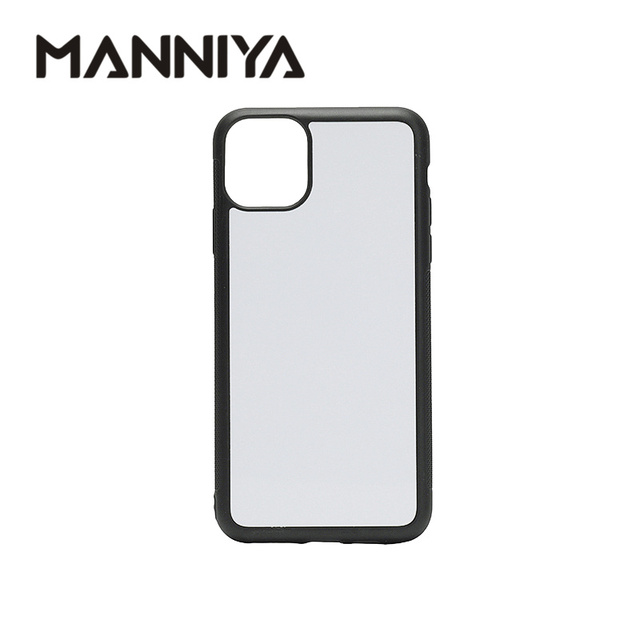 Manniya 아이폰 11/11 프로/11 프로 최대 빈 승화 tpu + pc 고무 전화 케이스 알루미늄 삽입 10 개/몫