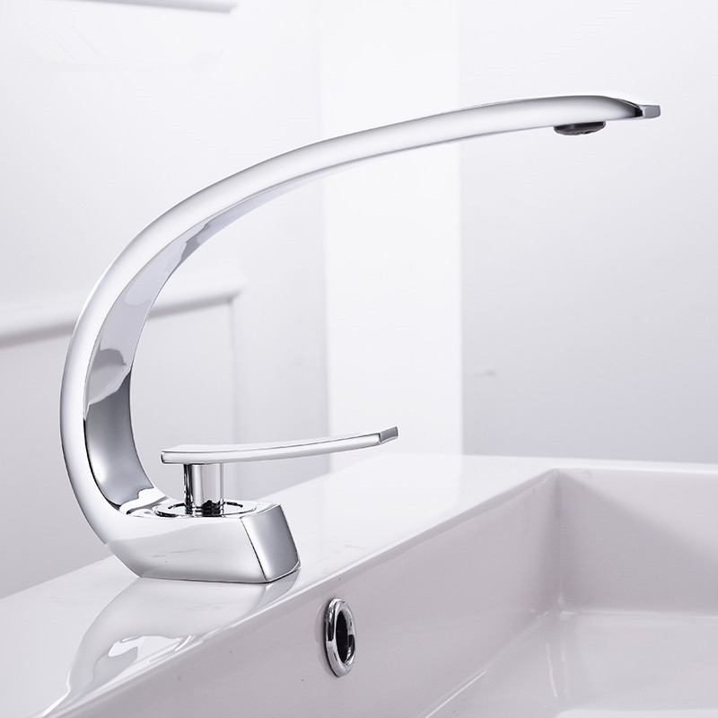 Faucets Modern Bathroom Mixer Tap Brass Washbasin Faucet Single Handle Hole Elegant Crane For