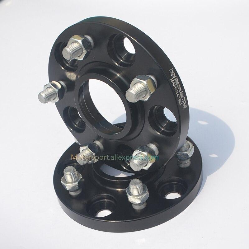 2 Pcs 15mm Thick PCD 5X114.3-66.1mm Hub Centric Car Wheel Spacers For X-Trail Rogue Skyline Qashqai