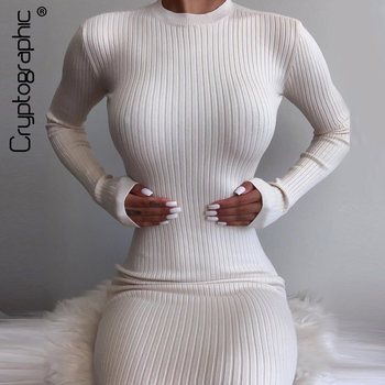 Cryptographic Elegant Ribbed Knitted Midi Dress Women Long Sleeve 2020 Fall Solid Round Neck Backless Cut-Out Dresses Club Party bohemian round neck long sleeve printed cut out dress for women