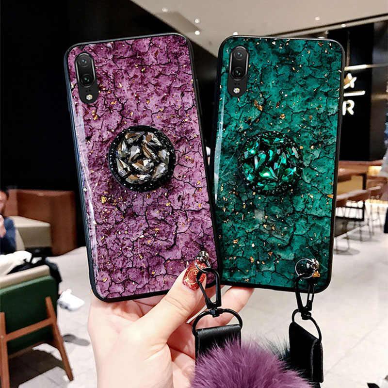 השיש סוגר שיער כדור + שרוך מקרה עבור Huawei P8 P9 P10 P20 P30 נובה 2 2s 3 3i 3e 4 לייט פרו P חכם בתוספת Y9 2019 2018 כיסוי