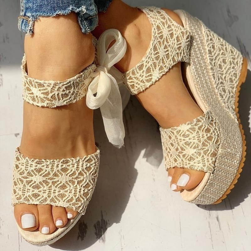 Women Fashion Summer Platform Wedge Sandals Ankle Strap Fish Mouth Espadrilles Sandals Sandalias Femininas Sandalen Sandales