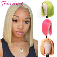 Blonde Bob Lace Front Human Hair Wigs Straight Brazilian Remy 613 Yellow Pink Green 13x4 Lace Front Short Bob Wig Pre Plucked(China)
