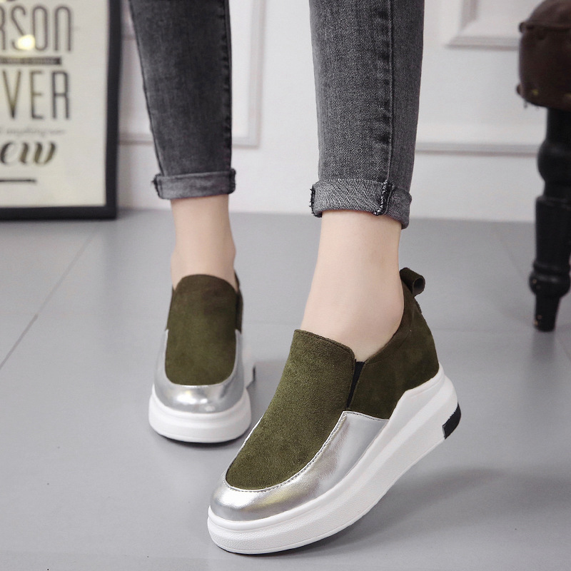 New 2019 Autumn Wedges Canvas Shoes Woman Platform Sneakers Shoes Hidden Heel Height Increasing Casual Shoes Flats CZ 26 in Women 39 s Vulcanize Shoes from Shoes