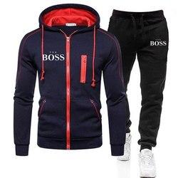 Brand Yes Boss Men Tracksuit 2 Pieces Sets Winter Jacket Casual Zipper Jackets Sportswear+Pants Sweatshirt Sports Suit Clothing