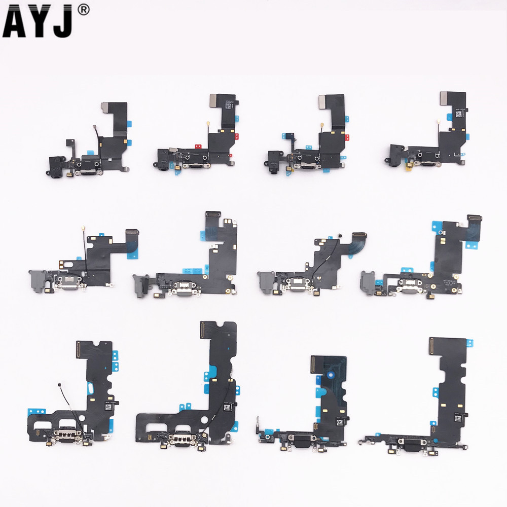 AYJ USB Charging Dock Port Flex Cable for iPhone SE 5S 6 6S 7 Plus 5 MIC Headphone Audio Jack Charger Connector Part Replacement