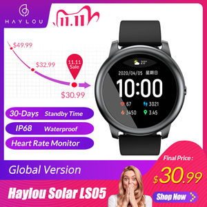 Global Version Haylou LS05 Solar SmartWatch Sport Heart Rate Sleep Monitor Waterproof iOS Android heylou from Youpin
