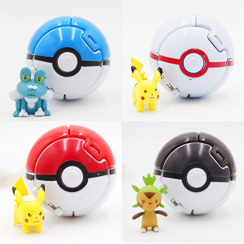 TAKARA TOMY Pokemon 4Pcs/Lot Elf Grasping The Poke Toys Ball Pikachu Elf Balls 7CM Cartoon Movie With Pikachu Figures Toys