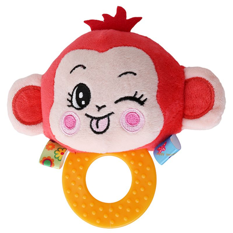 Happy Monkey Baby BB Sounds Rattle Hand Holding Teether Rattles Baby Bells 0-1 Plush Toys Animal Rattles