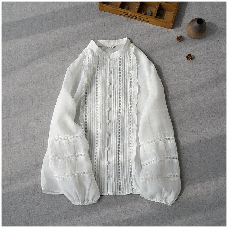 Delicate Pleated Lace Patchwork Design Buttons Vintage Cotton Linen Long Sleeve Shirt Blouse