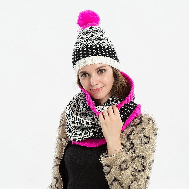 Winter Women's Knit Hat Women's Autumn Winter Wool Cap Fashion Winter Women's Hat Balaclava Hat Two-piece Hat Wholesale