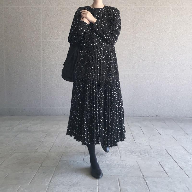 Women Dots Print Maxi Dress Pleated Three Quarter Sleeve Female Casual Straight Dresses Chic Ankle Length Vestidos