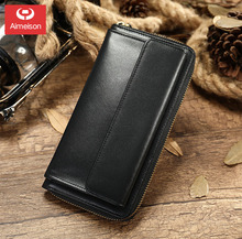 Business Mens Brand Clutch Bags Real Leather Phone Credit Card Organizer Large Wallet 2019 Fashion Zipper Hand Bag ASB036