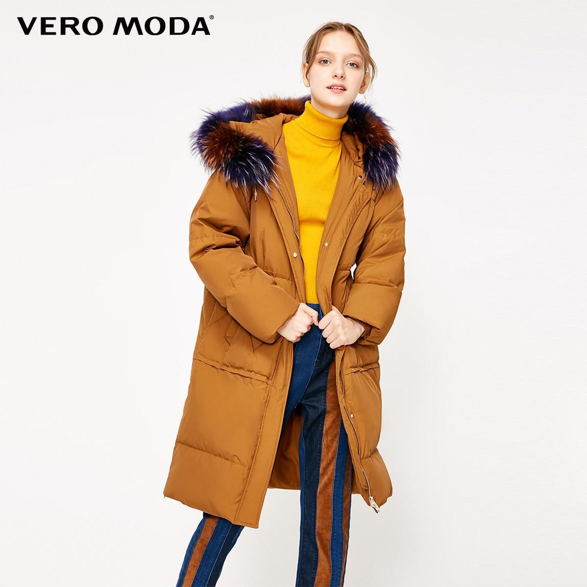 Vero Moda Women's 80% White Duck Down Raccoon Fur Collar Detachable Long Down Jacket | 318412555