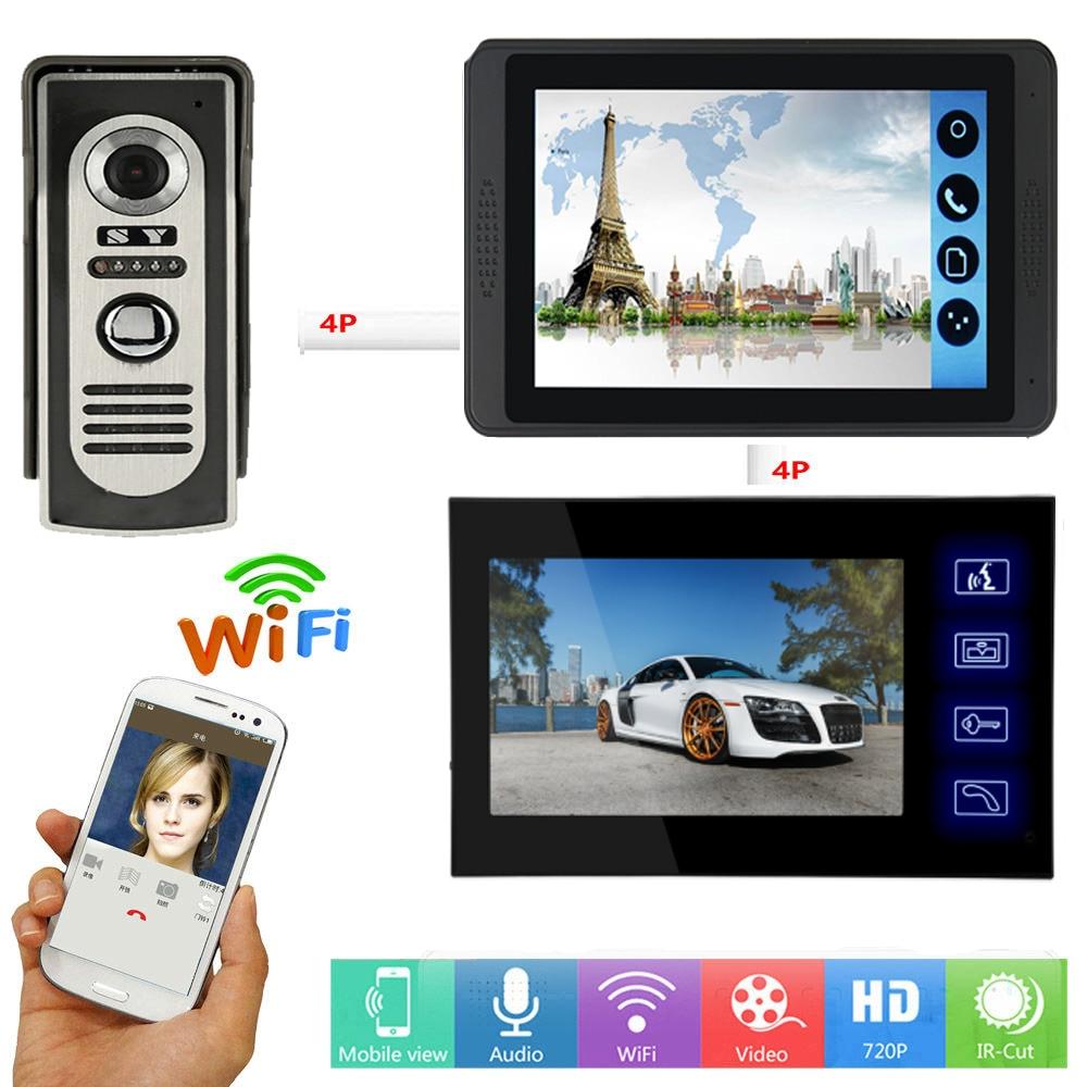 APP Remote Unlock 7 Inch Touch Monitor Wifi Wireless Smart Video Door Phone Doorbell Visual Video Speakerphone Intercom System