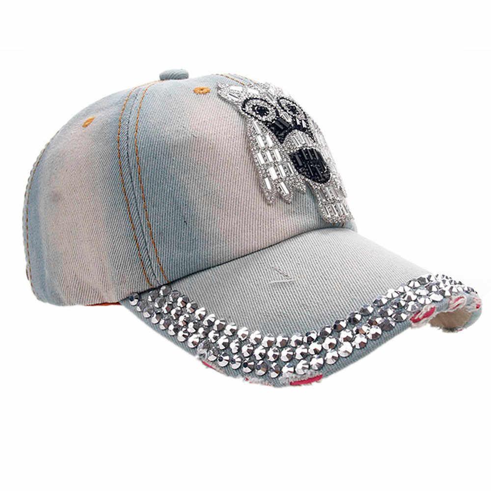 2019 אופנה לוח מוצק צבע בייסבול כובע מתכוונן נשים גברים ינשוף ג 'ינס ריינסטון בייסבול כובע Snapback היפ הופ שטוח כובע