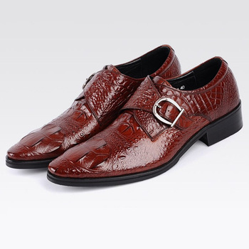 39~48 Large Sizes Monk Strap Crocodile Mens Loafers With Metal Buckle Formal Wedding Shoe Synthetic Leather Slip On Dress Shoes