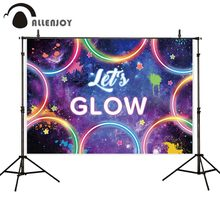 Allenjoy photography backdrop Lets glow party graffiti circle starry sky photographic backgrounds photophone photocall fabric