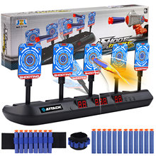 5-bit auto-reset elétrico pontuação alvo brinquedo com 2 pces pulseiras 20 pçs recarga dardos luz efeito de som para nerf tiro jogo