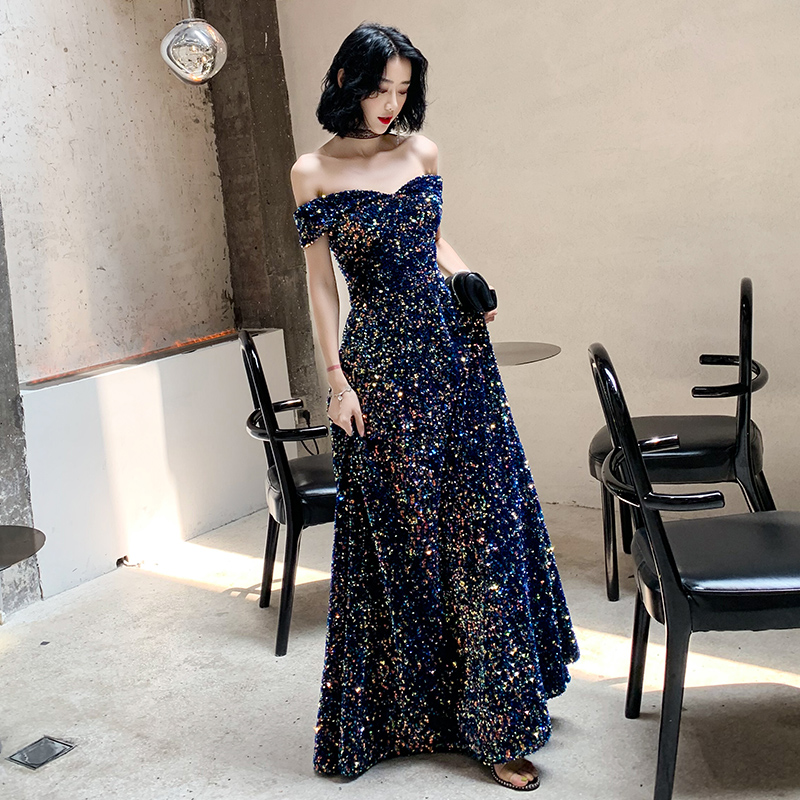 2020 New Listing Off-the-shoulder Sequin Evening Gown Long Paragraph Bridal Dress Fashion Party Temperament Elegant Prom Gowns
