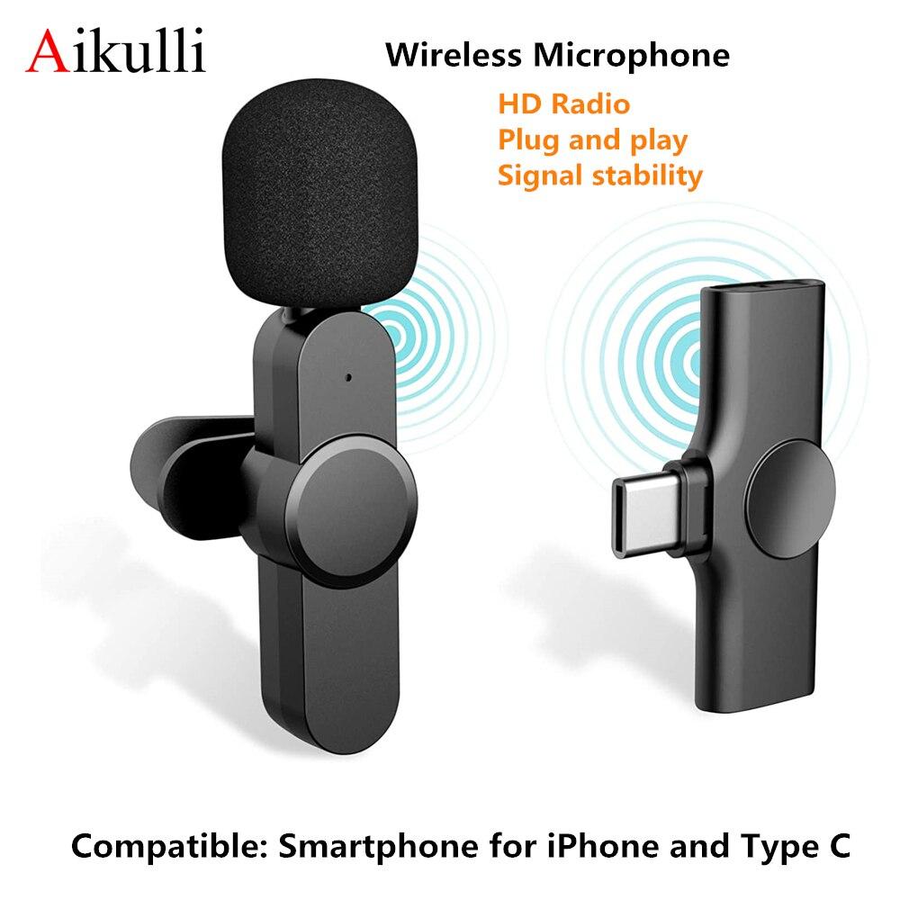 Беспроводной петличный микрофон для iPhone Android типа C для создателей контента для мобильного телефона с лацканами видео Mic для видеоблогов ...