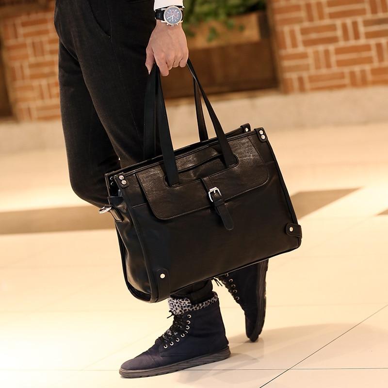 Luxury Messenger Bag Men 39 s PU Leather Business Shoulder Tote Bag For Men 2019 Fashion Large Male Crossbody Bags Handbags Black