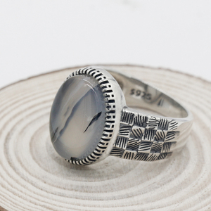 Image 5 - 925 Sterling Silver Men Ring with Big Natural Onyx Stone Vintage Weave Style Thai Silver Ring for Men Women Turkish Jewelry